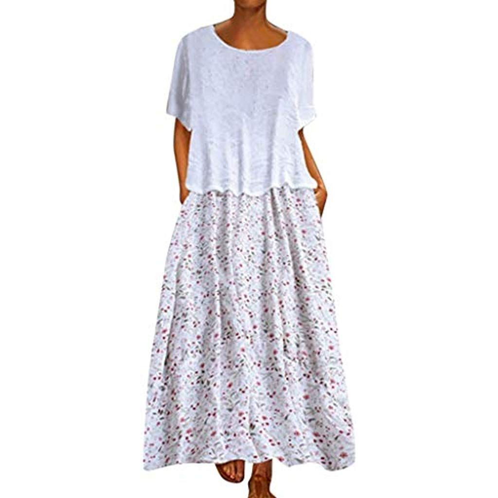 Damen Lange Kleider Sommerkleid Leinenkleid Mode Tops