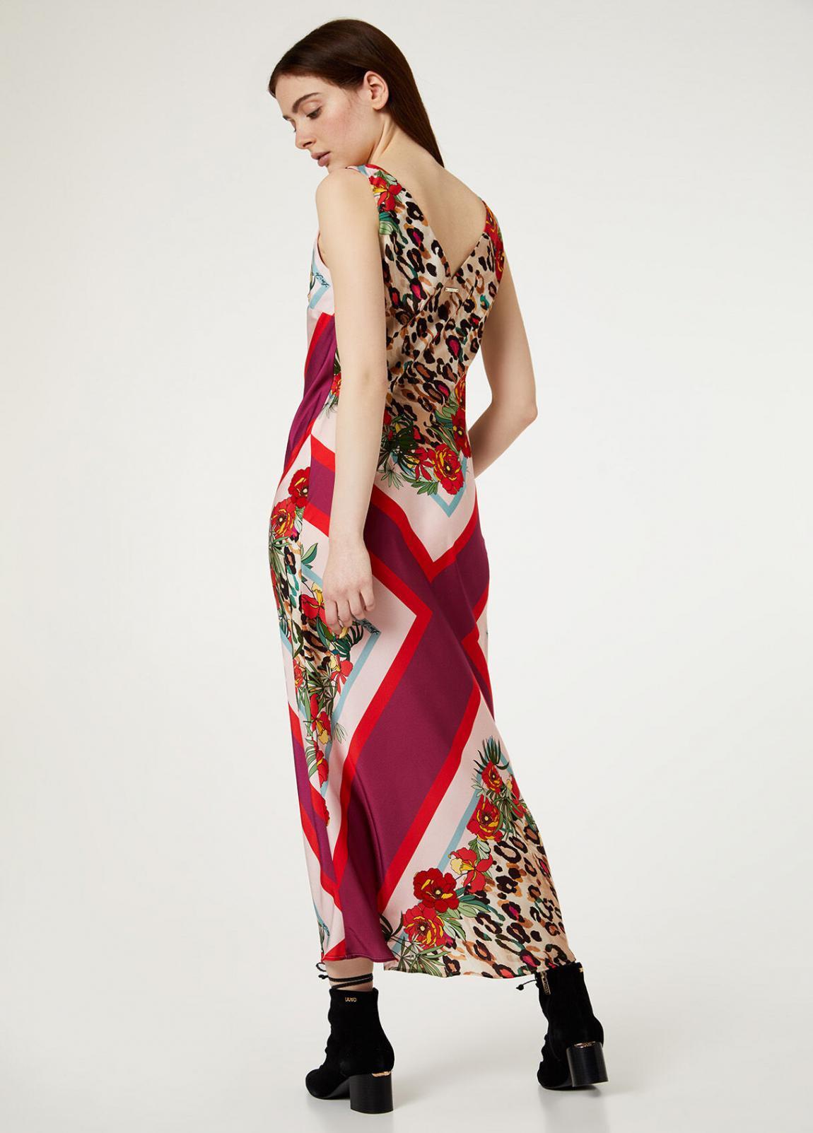 Damen Langes Kleid Aus Bedrucktem Satin  Liu Jo Kleider