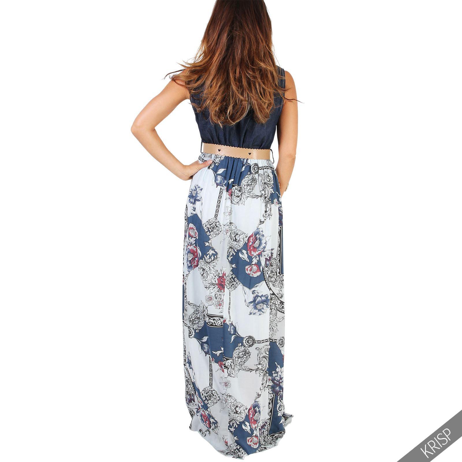 Damen Langes Sommerkleid Inklusive Gürtel Denim Floral