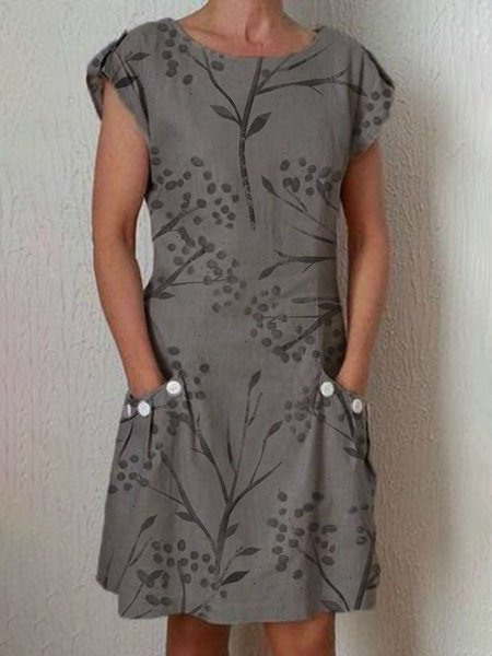 Damen Leinen Kleid Rundhals Kurzarm Kleider Sommerkleider