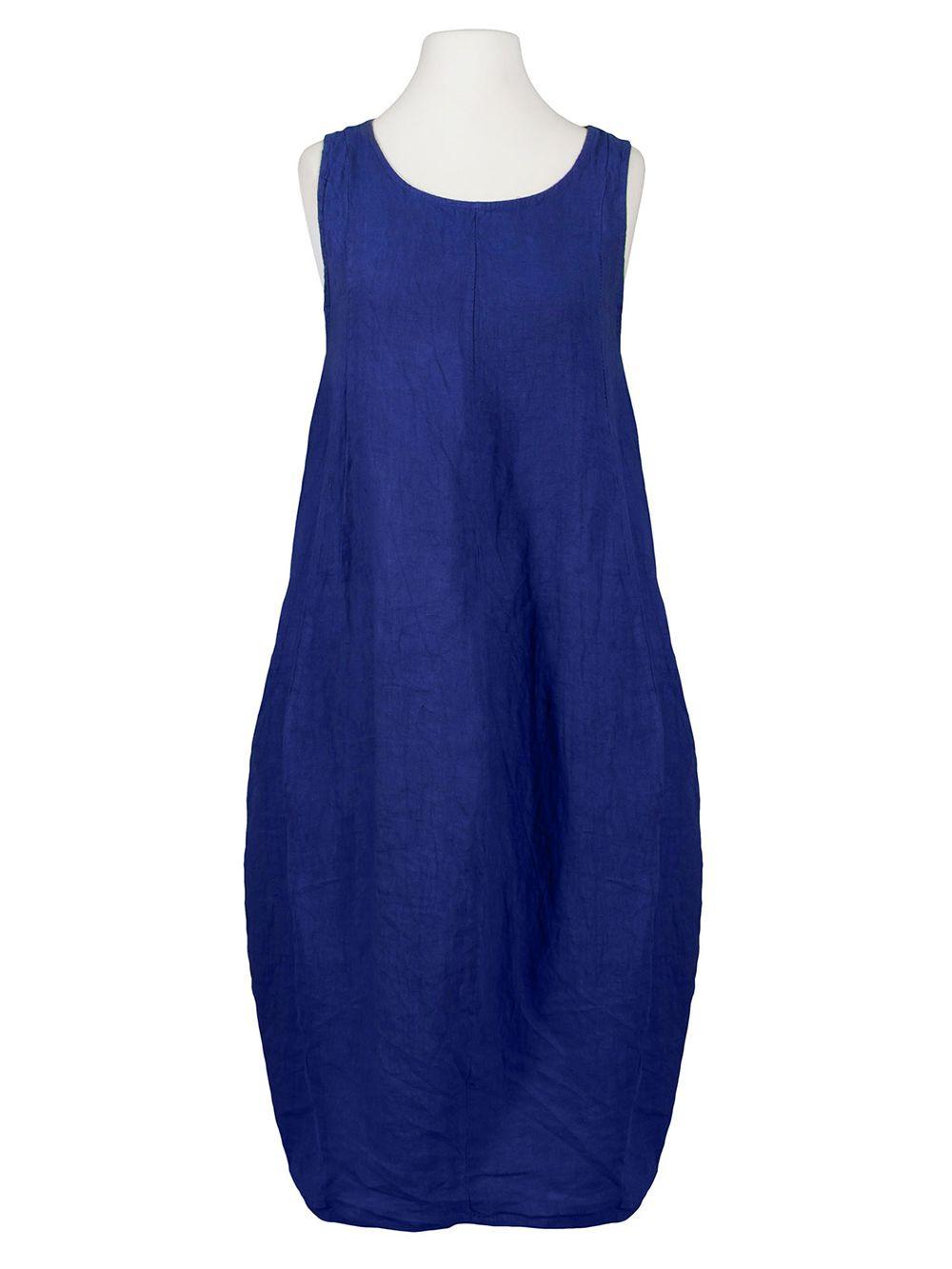 Damen Leinenkleid Ballonform Royalblau Von Puro Lino Bei