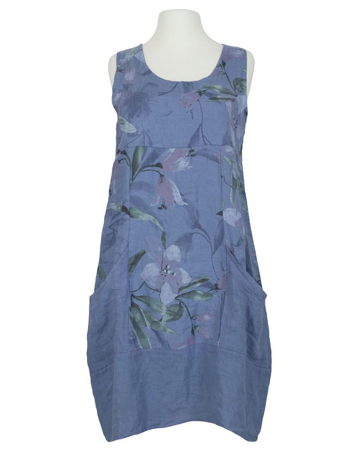 Damen Leinenkleid Blütenprint Blau Von Diana In 2020