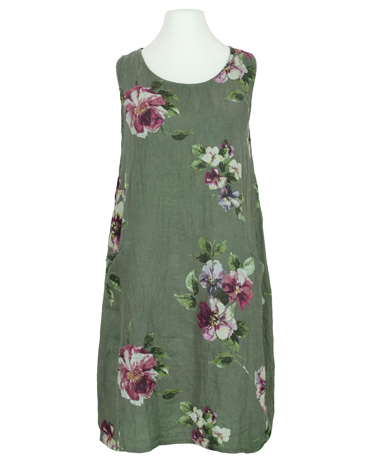 Damen Leinenkleid Floral Oliv Von Diana In 2020
