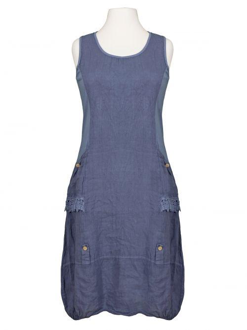 Damen Leinenkleid Spitze Jeansblau Von Fashion Made In