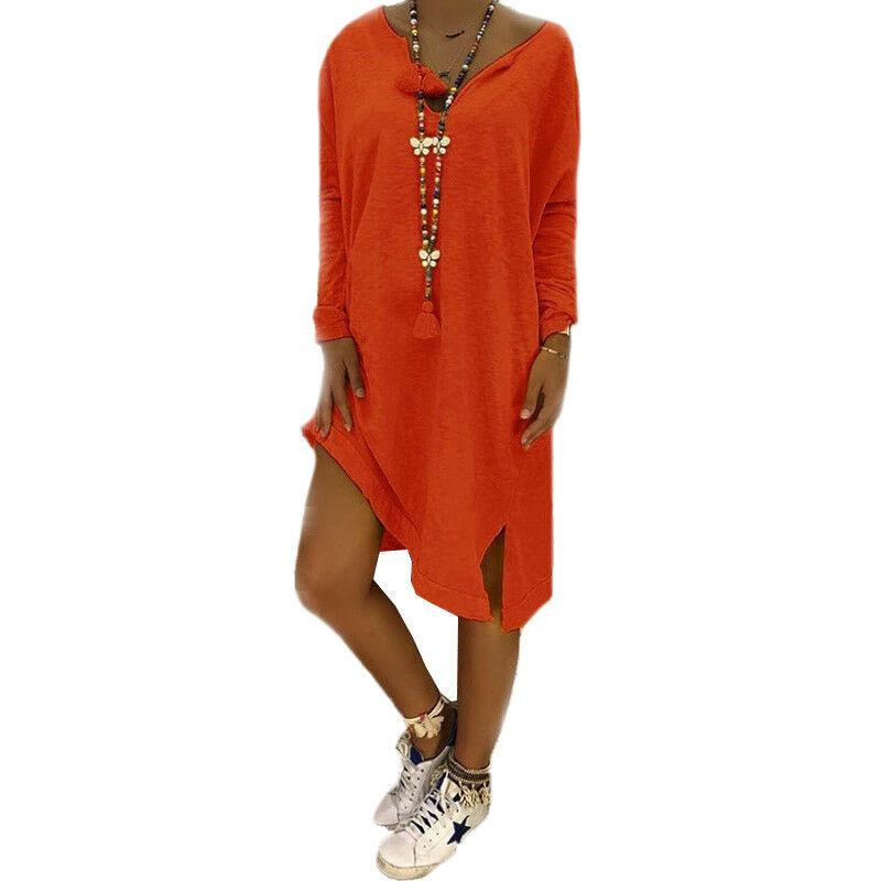 Damen Lose Langarm Kleid Shirtkleid Longshirt Tunika Party