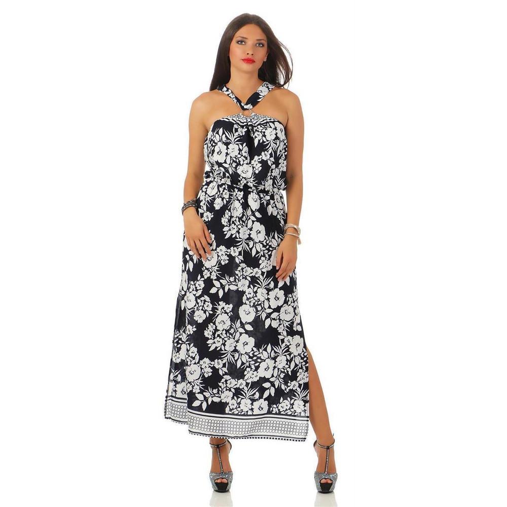 Damen Maxi Neckholder Kleid Sommerkleid Abendkleid Mit