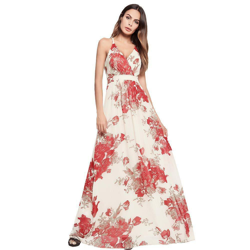 Damen Maxikleid Kleid Blumen Blumenmuster Langes