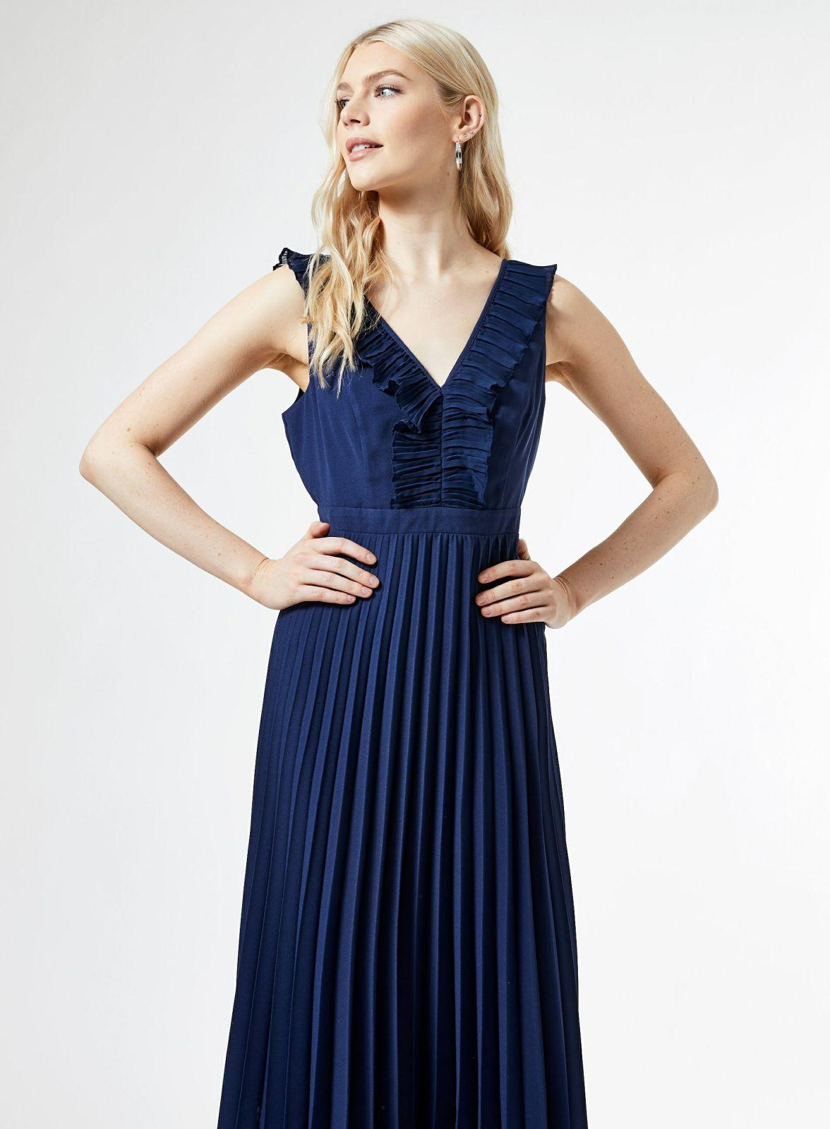 Damen Midikleider  Luxe Blaues Plisseekleid Mit