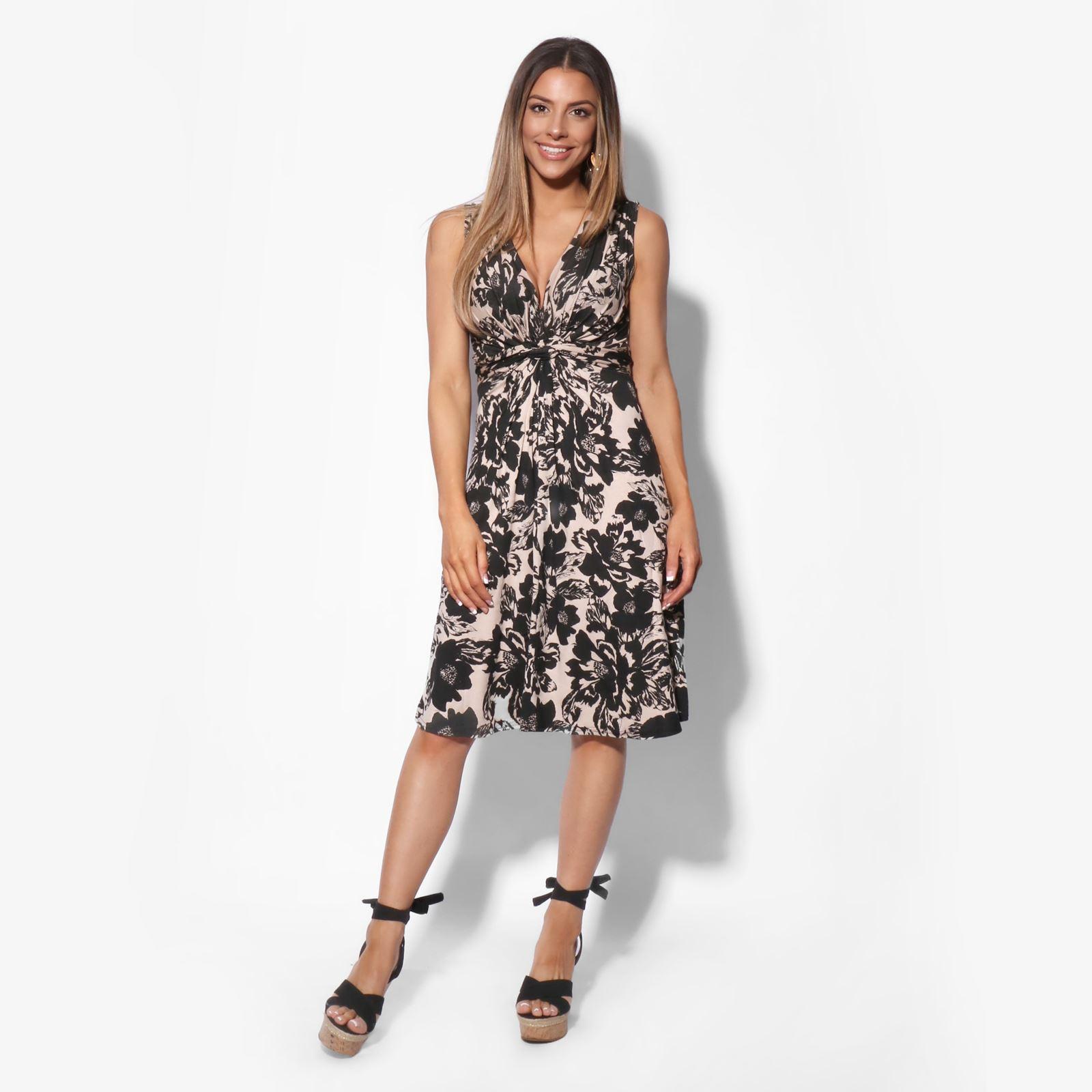 Damen Mini Kleid Blumenmuster Wickelkleid Sommerkleid V
