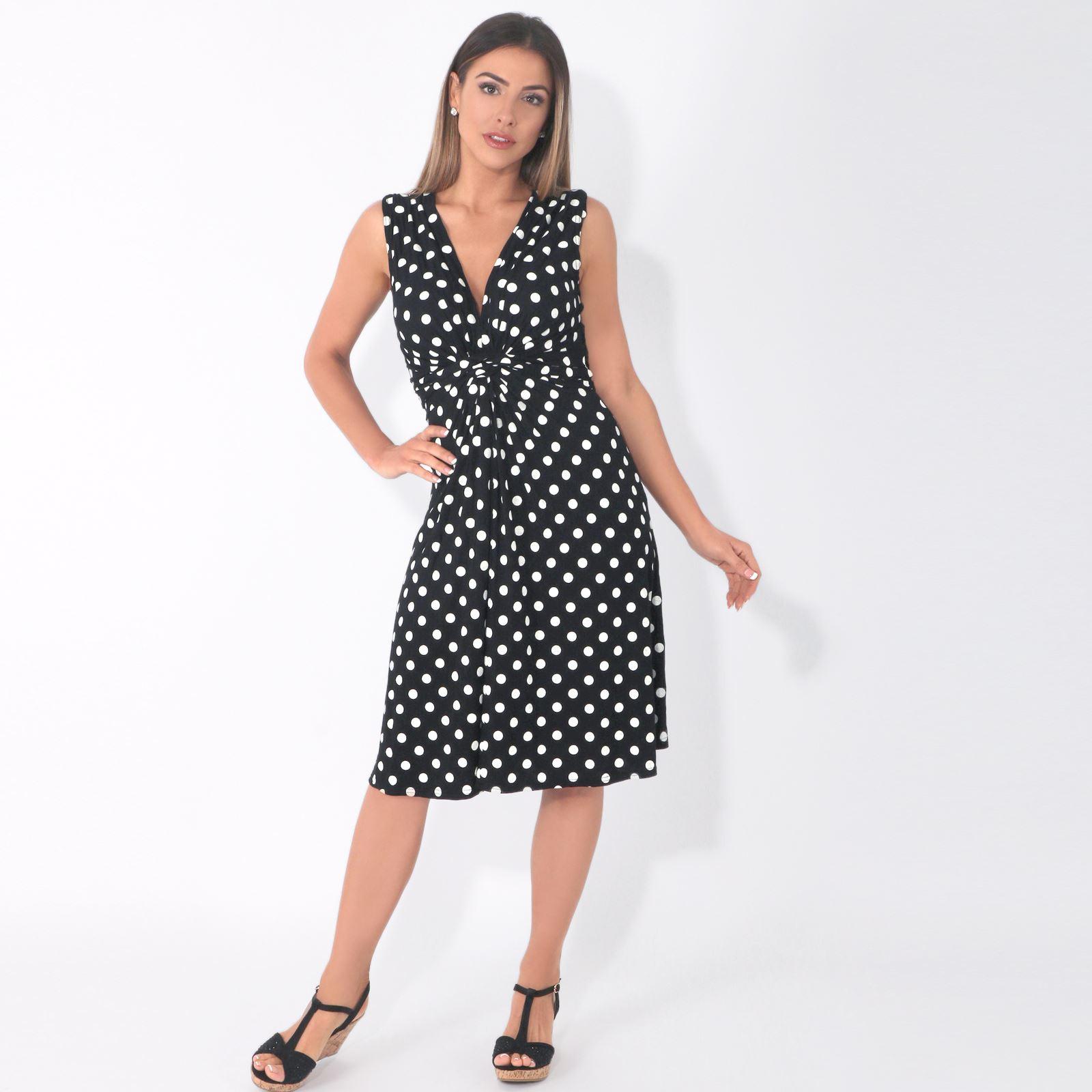Damen Mini Kleid Mit Punkten Wickelkleid Sommerkleid V