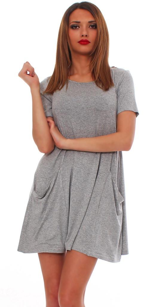 Damen Minikleid Longshirt Kleid Langarm Kurzarm Mit