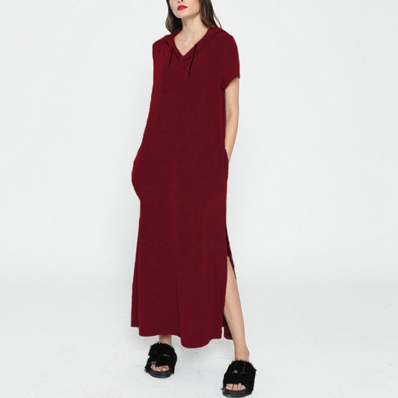 Damen Mode Kapuzen Lang Maxi Sweatshirt Kleid Lässig