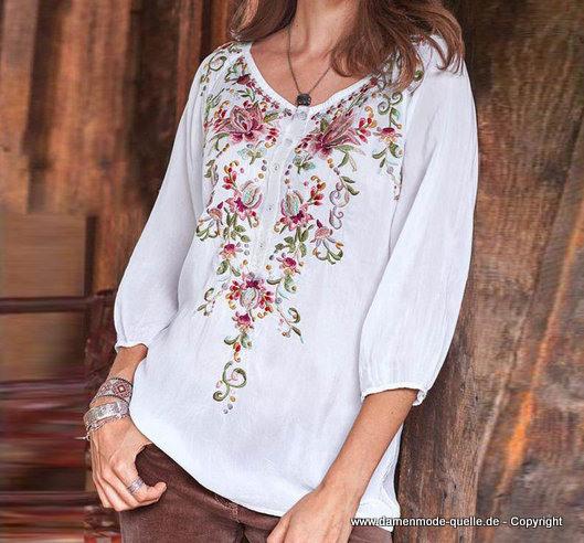 Damen Oberbekleidung  Langarm Tunika 2020 Bestick In Weiß