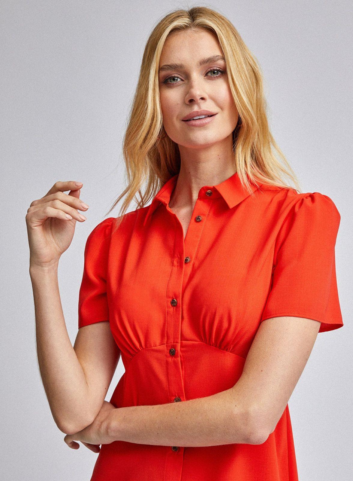 Damen Orangefarbenes Hemdkleid Mit Empirenähten Orange
