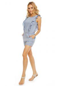 Damen Overall Denim Look Jumpsuit Mini Kleid Shorts Kurze
