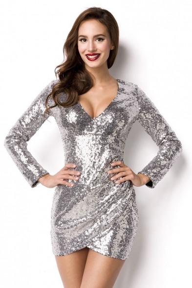 Damen Partykleid Clubkleid Pailletten-Kleid Silber
