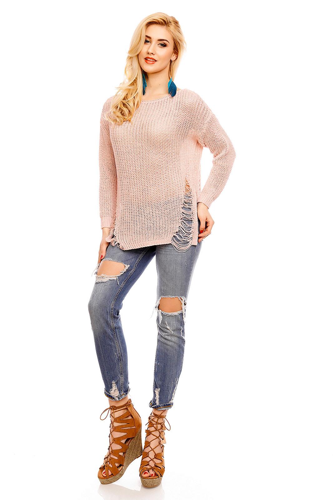 Damen Pullover Strick Loch Gestrickte Sweatshirt Sweater