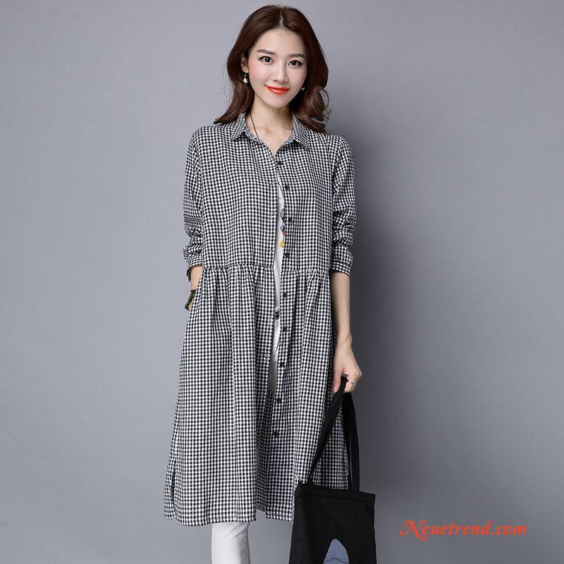 Damen Retro Kleider Große Größe Gitter Adretten Stil Feder