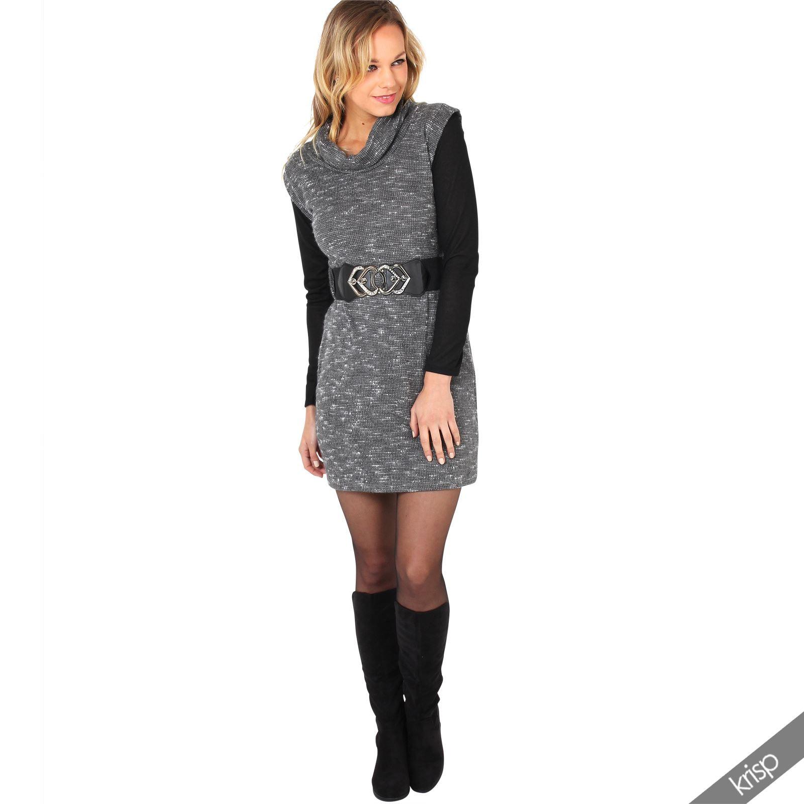 Damen Rollkragen Strickkleid Stretch Gürtel Mini Kleid