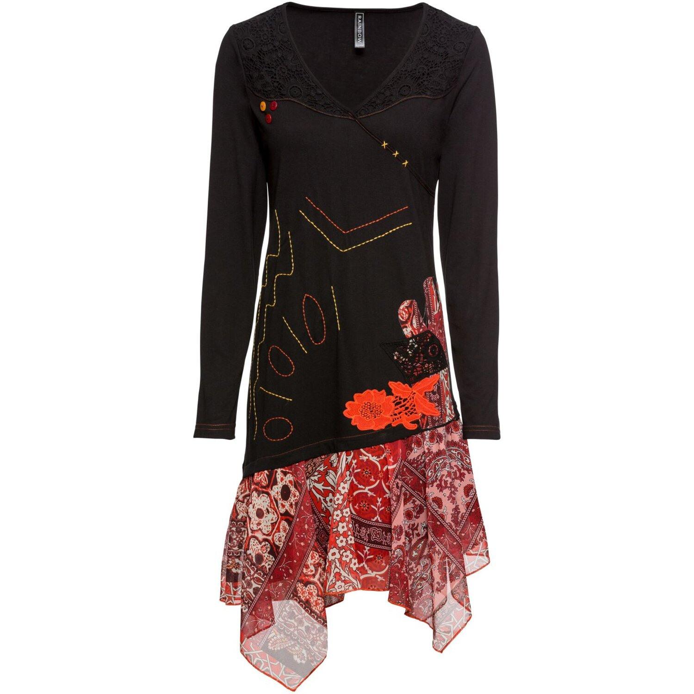Damen Shirtkleid Mit Chiffon Einsatz In Schwarz/Rot 999