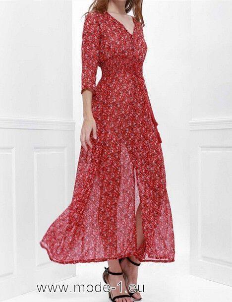 Damen Sommerkleid Lang In Rot Mit Blumen Druck Mit