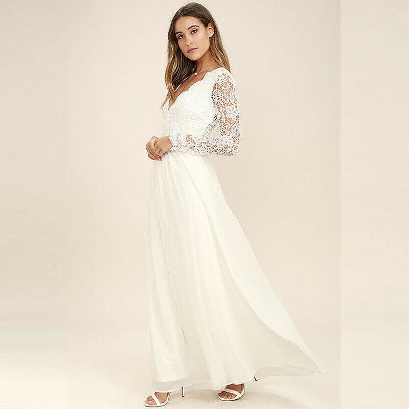 Damen Spitze Brautkleid Hochzeit Abendkleid Ballkleid