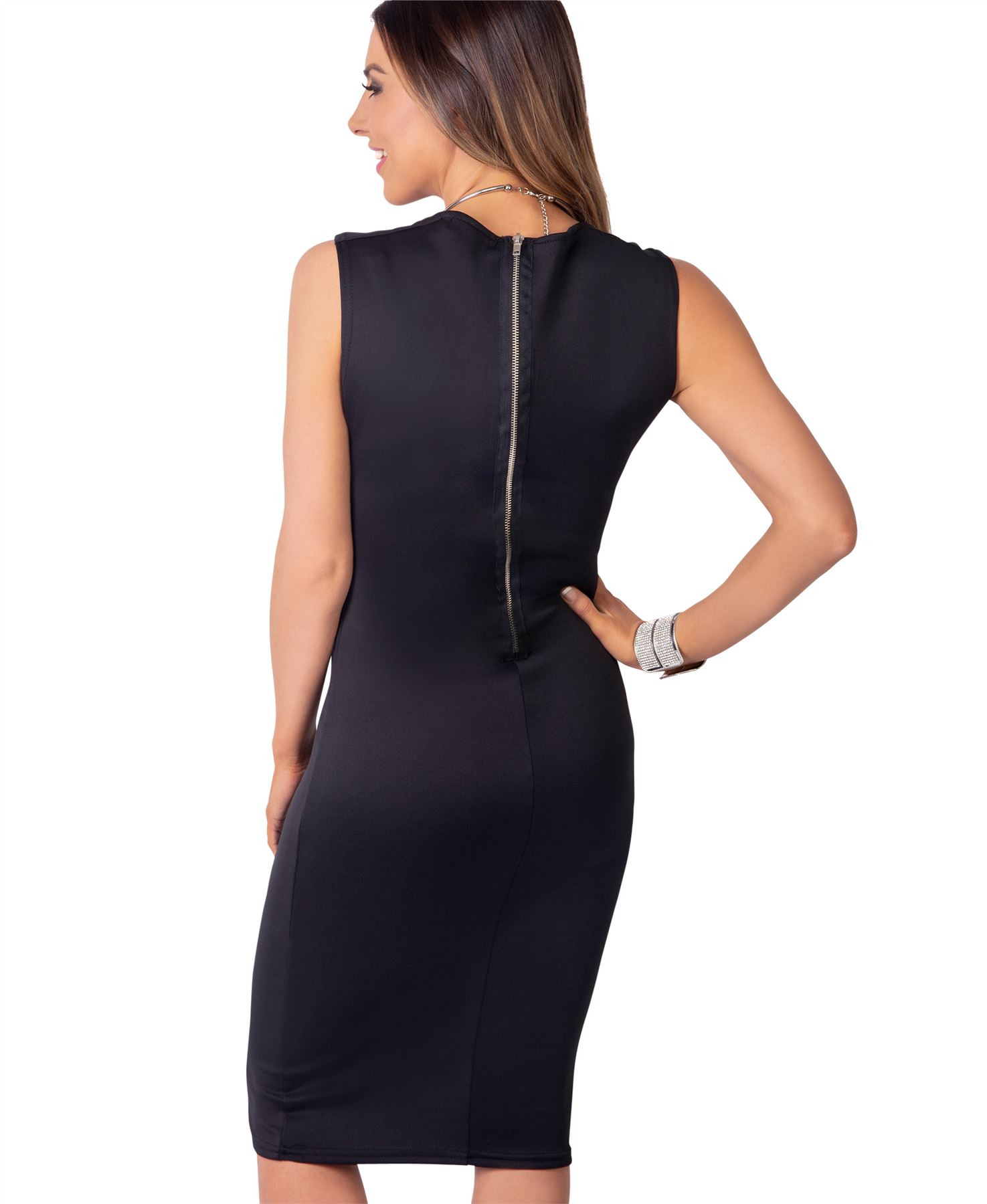 Damen Stretch Kleid Etuikleid Kragenausschnitt