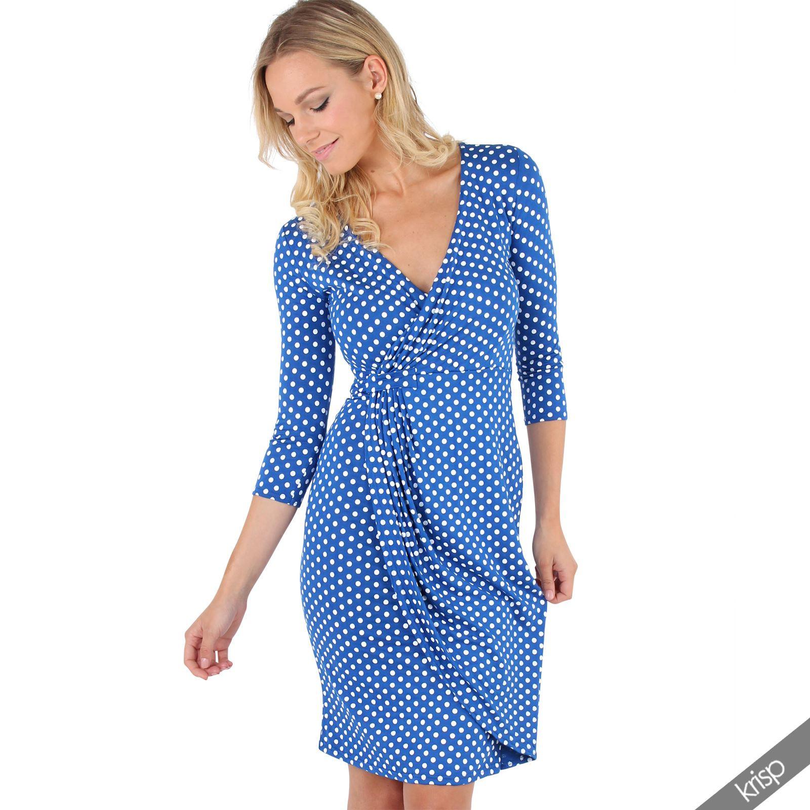 Damen Stretch Wickelkleid Gepunktetes Jersey Kleid Mini