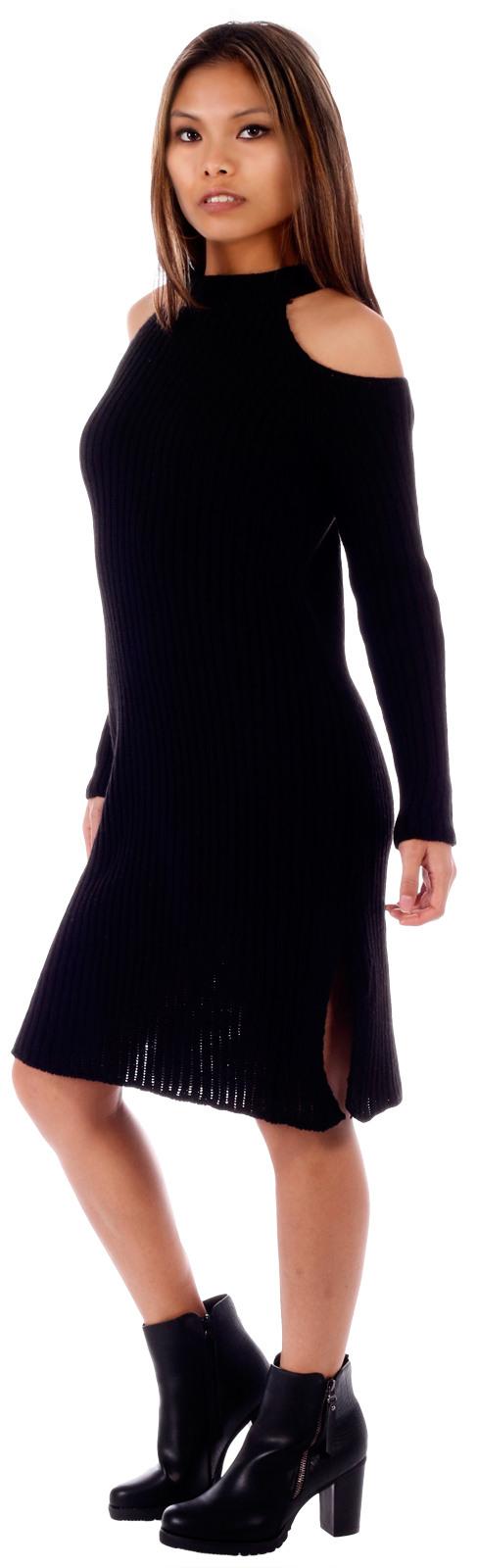 Damen Strickkleid Pulloverkleid Langarm Mit Einem