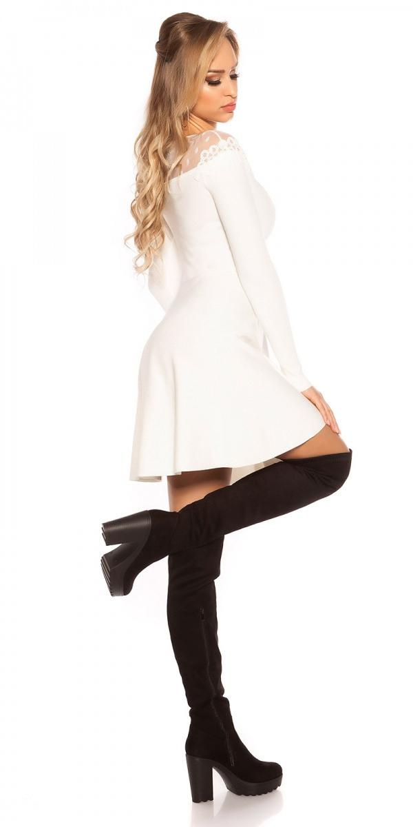 Damen Strickkleid Tailliertes Kleid Mit Stickerei Und Mesh