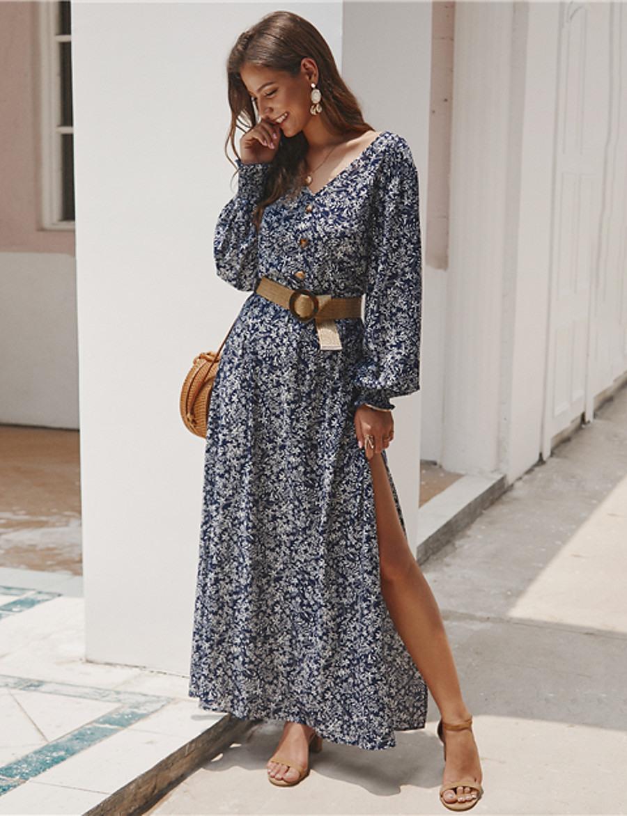 Damen Swing Kleid Maxikleid  Langarm Geometrisch Druck