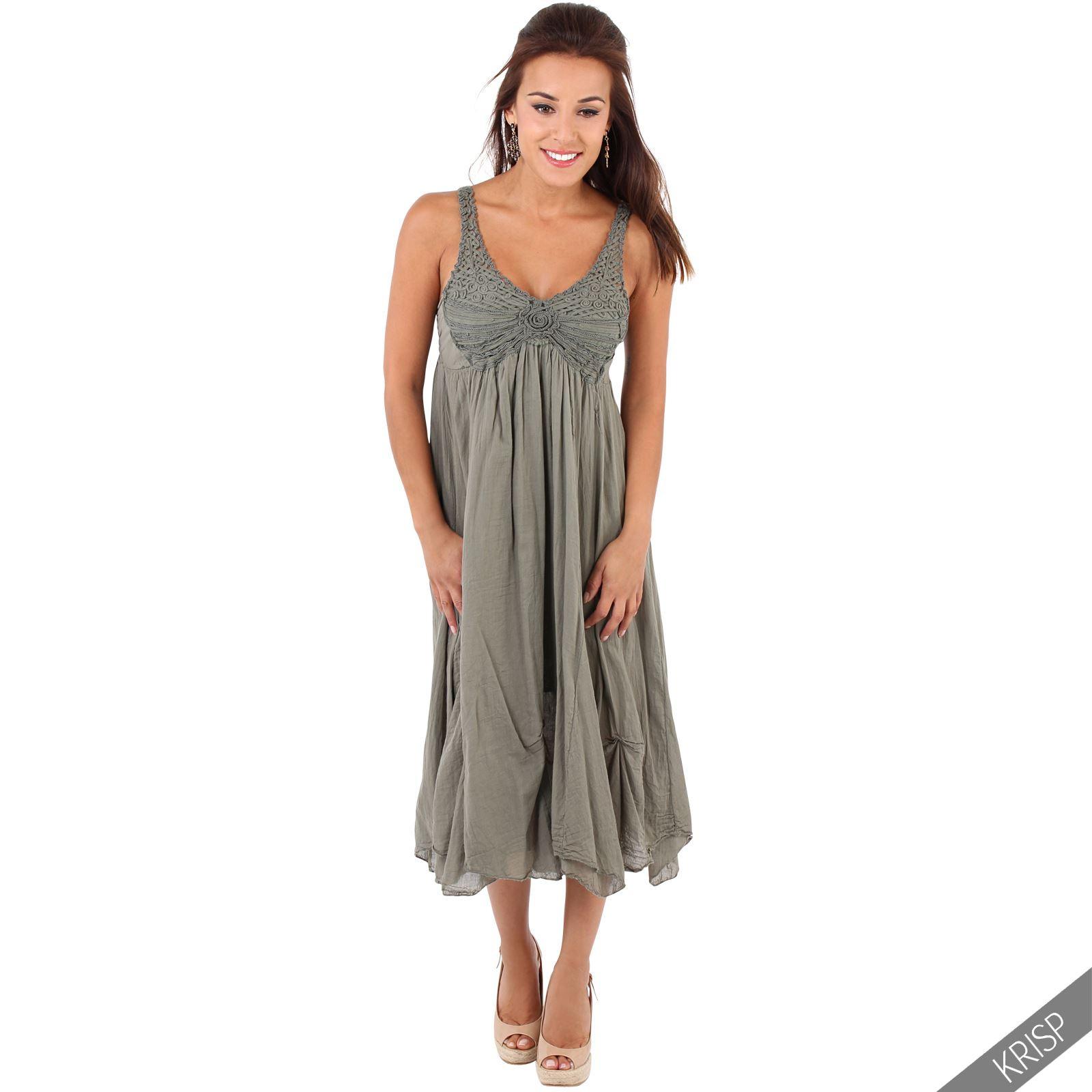 Damen Trägerkleid Häkelspitze Midi Wadenlanges Kleid