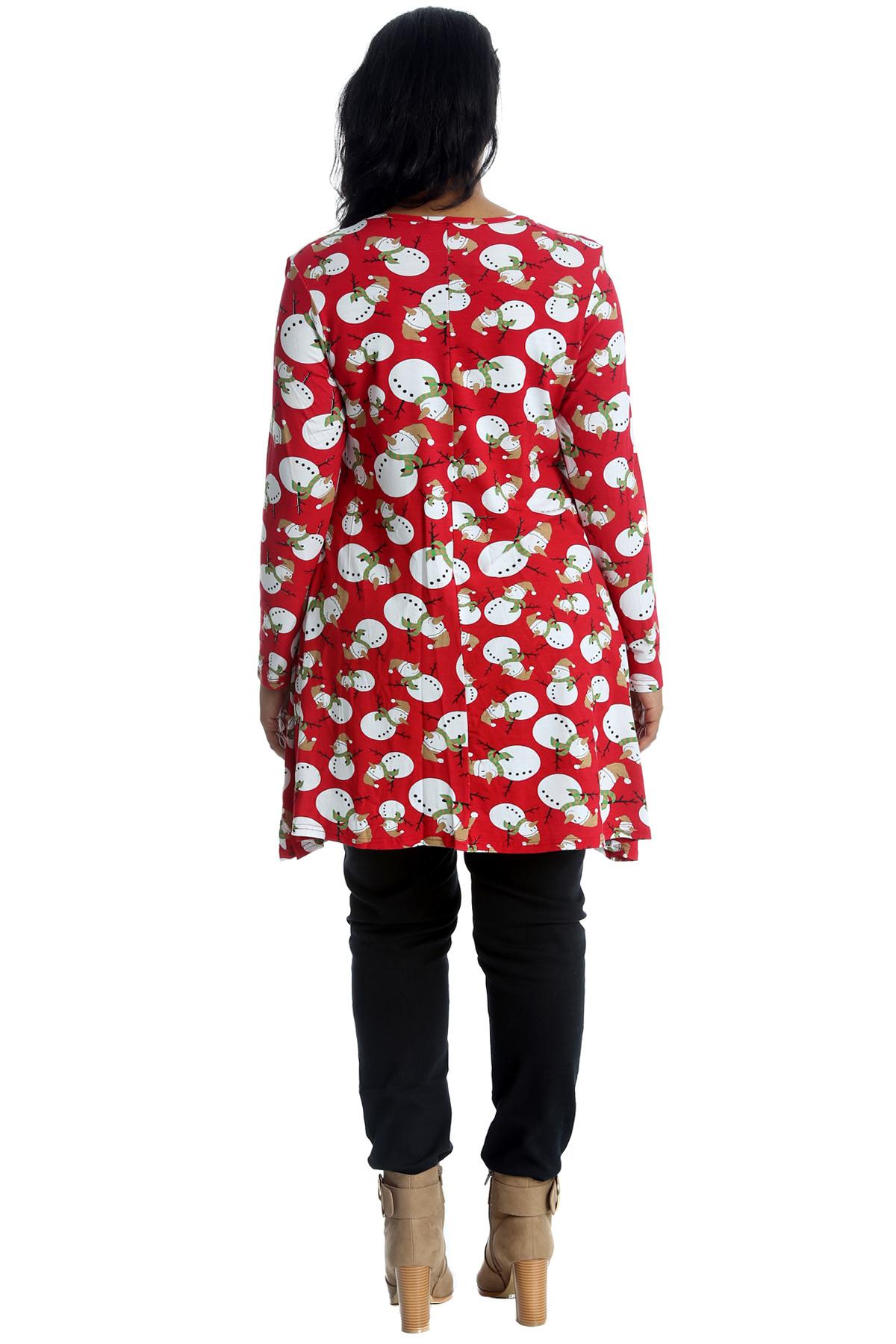 Damen Übergröße Hemd Damen Swing Stil Kleid Schneemann