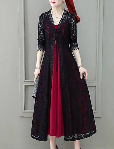 Damen Übergrössen Anspruchsvoll Elegant Hülle Kleid