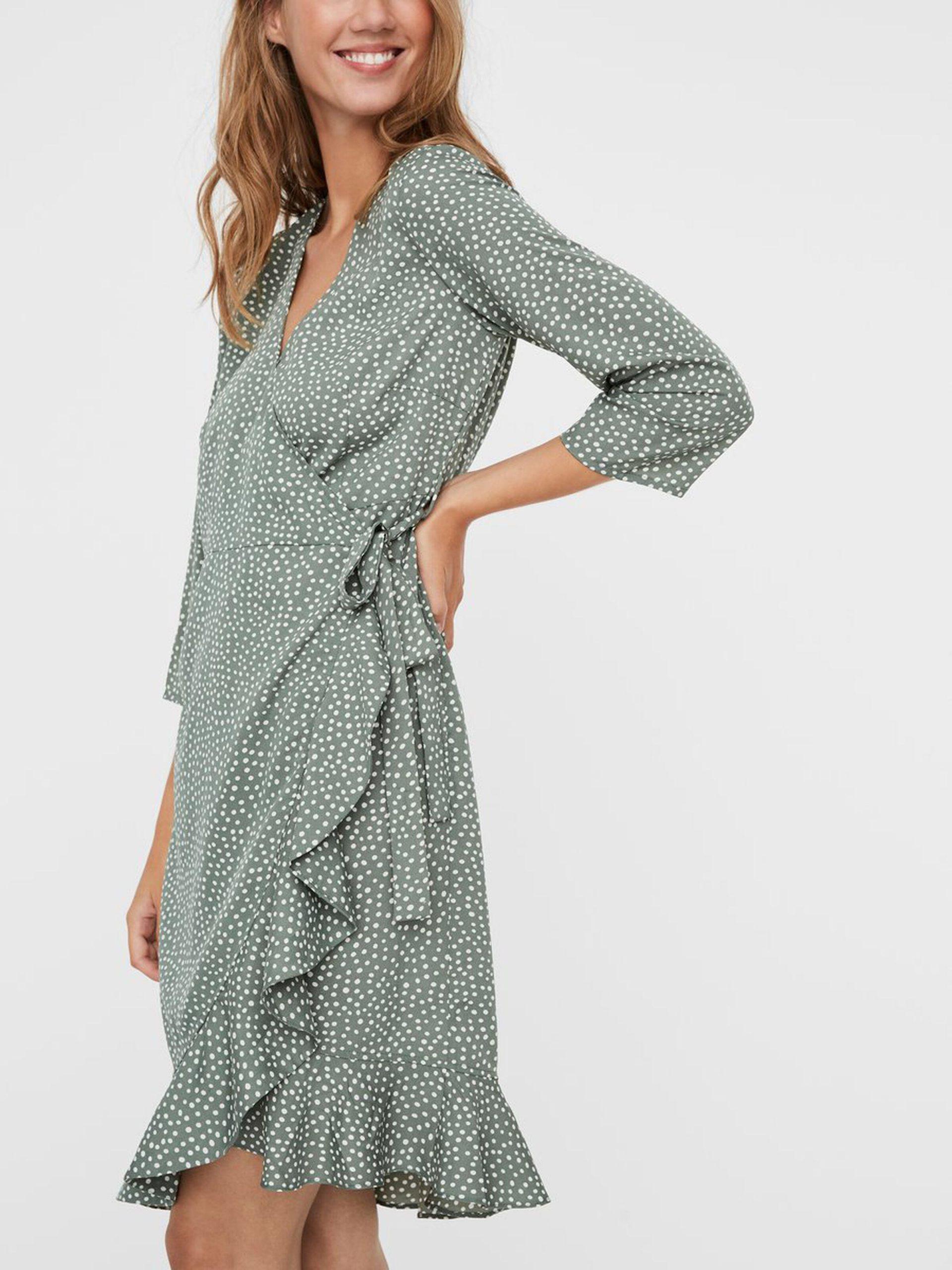Damen Vero Moda Kleider  Gepunktetes Wickel Minikleid
