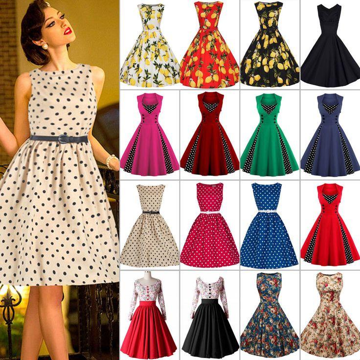 Damen Vintage Rockabilly 50Er Tanzkleid Petticoat Swing