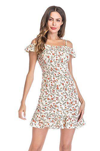 Damen Vintage Sommerkleid Träger Mit Flatterndem Rock