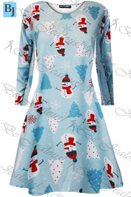 Damen Weihnachten Mini Kittel Swing Kleid Santa Geschenk