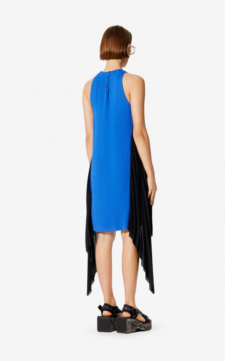 Damen Zweifarbiges Plissiertes Kleid French Blue  Kenzo