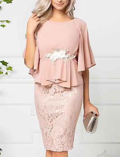 Damen Zweiteiliges Kleid Knielanges Kleid  Kurzarm