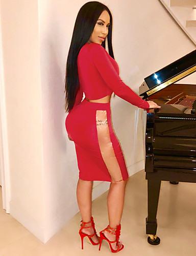 Damen Zweiteiliges Kleid Knielanges Kleid  Langarm