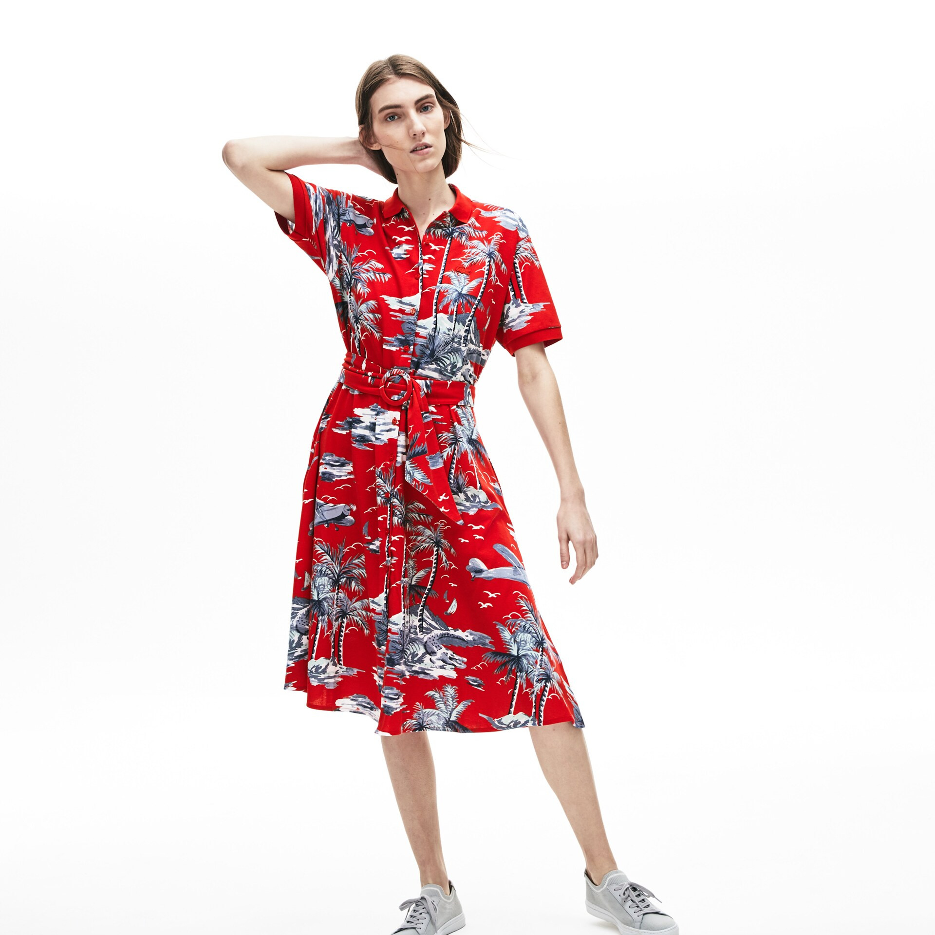 Damenkleid Mit Polokragen Und Hawaiiprint  Lacoste