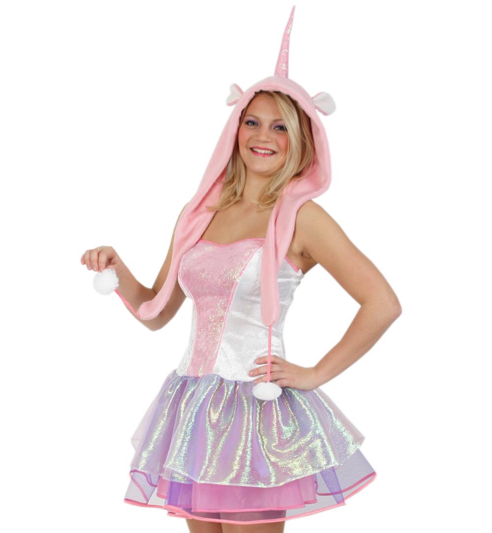 Damenkostüm Kleid Einhorn Mit Mütze In Rosa Unicorn