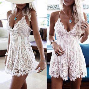 Damenmode Damen Spitzenkleid Abendkleider Sommer Minikleid
