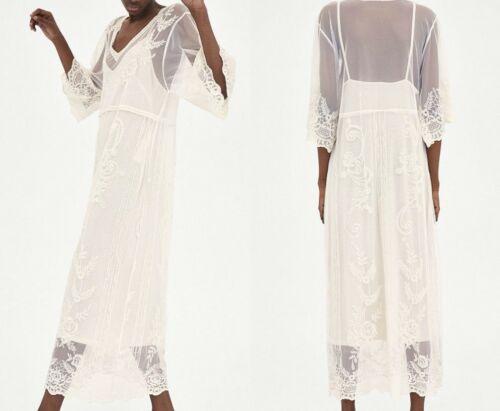 Damenmode Zara Long Embroidered Lace Guipure Dress