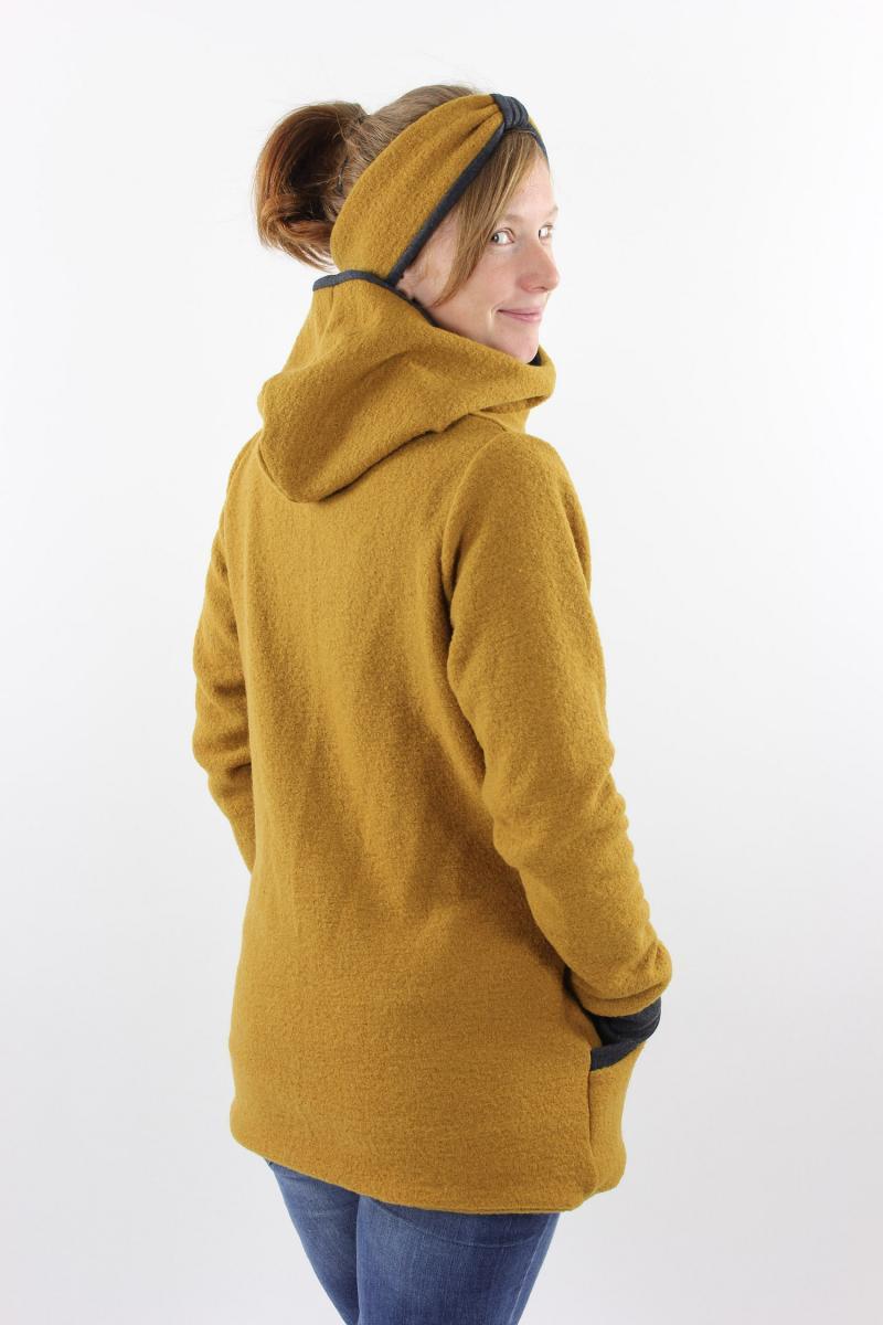Damenwolljacke Gelb Und Anthrazit Meliert01Wlj012