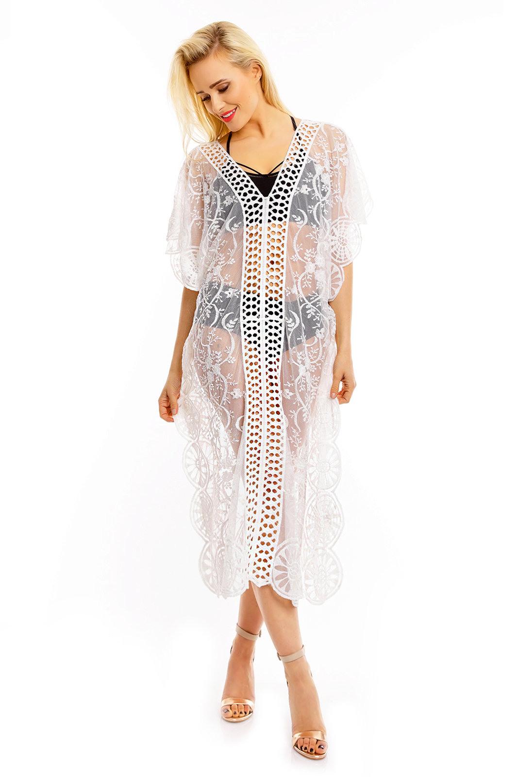 Dammen Sommer Tunika Strand Ibiza Kleid Spitze Mozaik