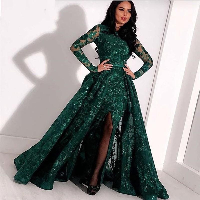 Designer Abendkleider Mit Ärmel Grün  Spitze Abendmoden
