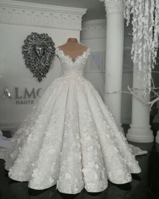 Designer Brautkleider Mit Spitze Blumen Weiße