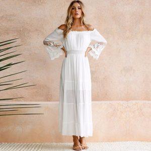 Designer Elegant Sommerkleid Lang Mit Ärmel Für 2019